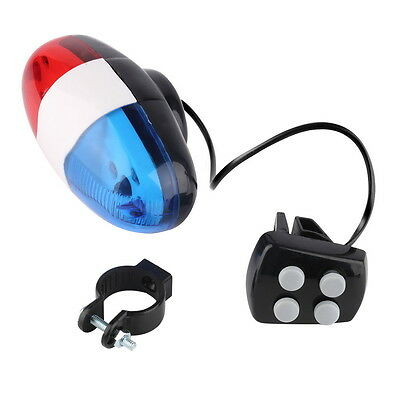 Bike Bicycle Cycling 4 Sounds LED Police Car Siren Electric Light Horn Bell 7@
