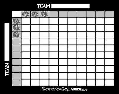 20 Pack - Scratch-Off Football Square Grid - 100 Squares Office Pool