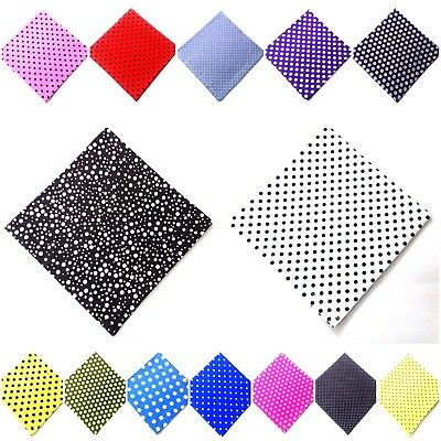 Men Women Unisex Pocket Square Handkerchief Hanky - 100% Cotton - POLKA DOT