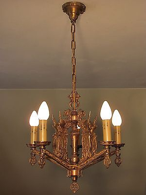 EXQUISITE! Antique MOE BRIDGES Light Fixture with Medieval Knights RESTORED!