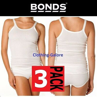 Womens Bonds 3 Pack Cumfy Tube Long Rib Top White Plus Size Underwear Singlet