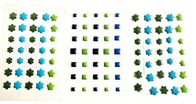 105 Green and Blue Dimensional Stickers flowers and Squares