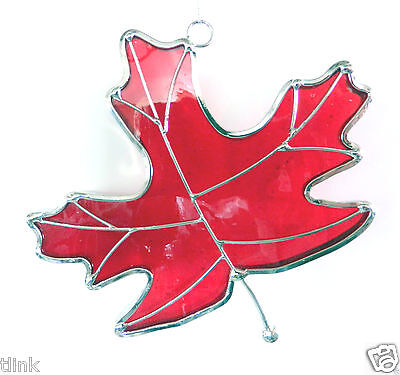 Stained Glass Red Maple Leaf Sun Catcher