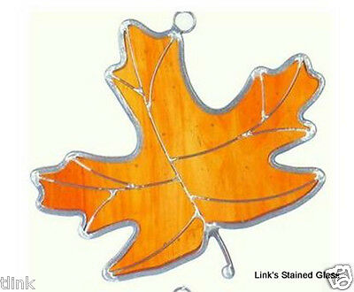 Stained Glass Amber Maple Leaf Sun Catcher