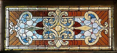 Antique American Stained Jeweled & Beveled Glass Transom w/ some zipper work