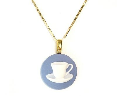 Stamped, Wedgwood Jasperware Cameo Pendant On Wedgwood Gold Plated Chain
