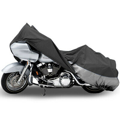 """Motorcycle Dust Cover Grey/Silver X-Large 107"""" Length Indoor Storage Protection"""