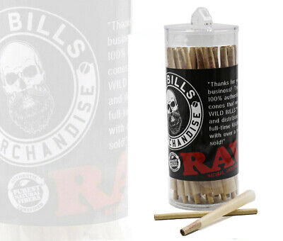 RAW CLASSIC 98mm Size Pre-Rolled Cones with Filter (75 Pack)