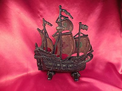 Vintage Cast Iron Sailing Ship Red Cross Galleon Sail Boat Door Stop