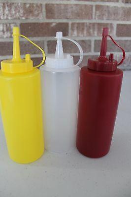 3 Condiment Dispenser Squeeze Bottle Plastic Ketchup-Mustard- Dressing 12oz