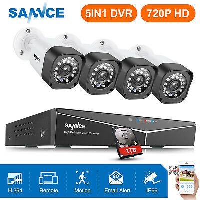 SANNCE 8CH 1080N HDMI DVR NVR CCTV Security Camera System Home Video Outdoor 1TB