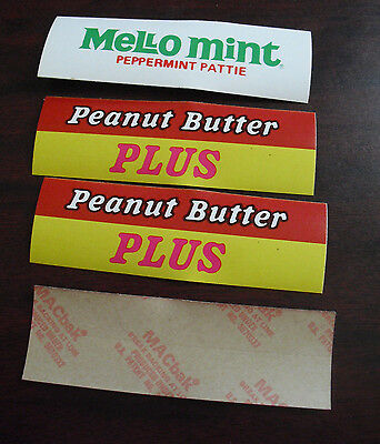 Lot of 4 Vintage 1950s Peanut Butter Plus Mello Mint Store Display Stickers LOOK