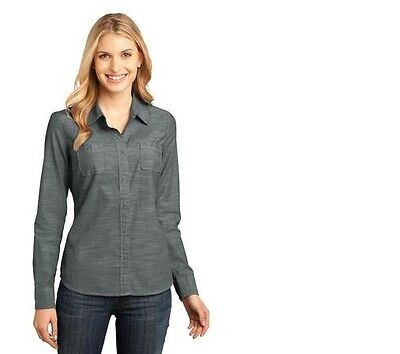 District Ladies Long Sleeve Washed Woven Shirt DM4800