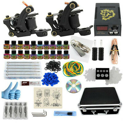 Beginner Complete Tattoo Kit 2 Tattoo Machine Guns Set 7 Ink Power Supply Needle