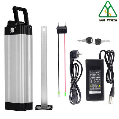 36v10.4ah Lithium Ion Battery Electric Bicycle Bike Cycle Silver fish+Charger