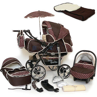 Baby Pram Stroller Pushchair swivel wheels + Car Seat Buggy Umbrella Footmuff