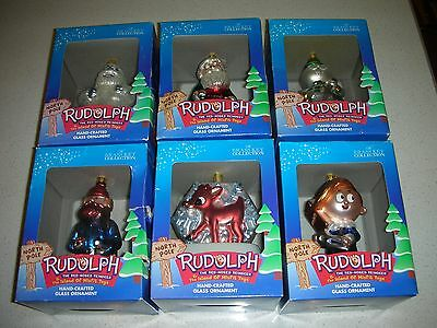 Rudolph the Red-Nosed Reindeer Set of 6 Glass Ornaments 2001 NEW Complete Set