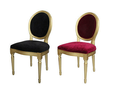 Louis French Dining Chair Velvet Shabby Chic Bedroom Dressing Hall Wooden Gold