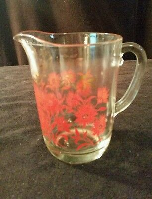 """Vintage Glass Pitcher Red Flowers Gold  6 1/2"""""""