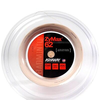 Ashaway Zymax 62 Badminton 200M Reel (Available in White, Yellow or Red)