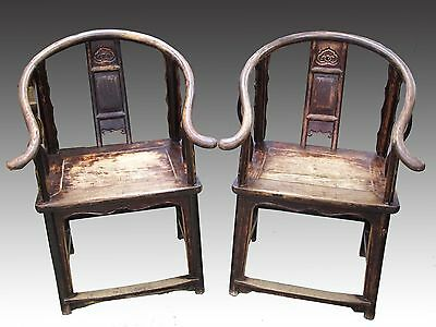 Two Chinese Antique Official's hat Armchair Wooden Chair Ming Dynasty Style