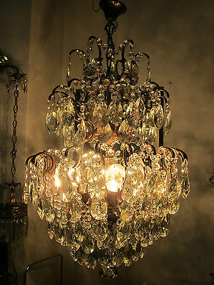 Antique French HUGE Triplex Spider Style Crystal Chandelier lamp Light 1940's