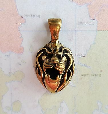 Solid Brass Dimensional Lion Head Charm (1) - DS006 Jewelry Finding