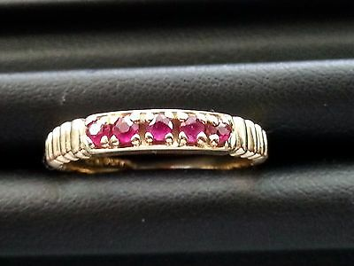 Vintage 14K Yellow Gold 5 Stone Ruby Band Ring Size 6