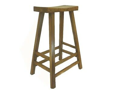 A Chinese Brown Color Elm Wood Bar High Stool 31 inches HIGH Light wood tone