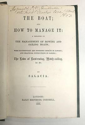 Rare!  The Boat & How To Manage It - Salacia - 1861 - 1St Edition - Vg Cond.