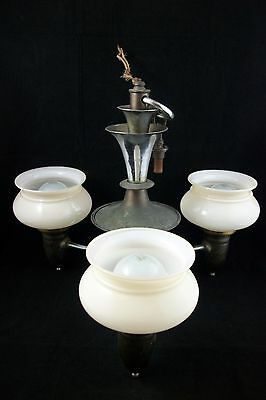 Antique Art Deco Slip Shade Chandelier VTG Chrome Ceiling Light Fixture 1920's