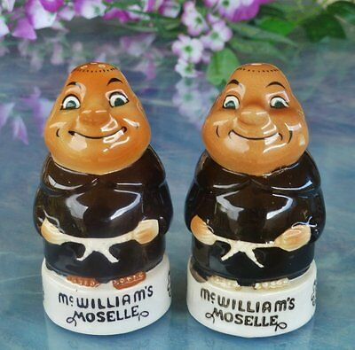 McWILLIAM'S MOSELLE 'FIGURAL MONKS' COLLECTABLE SALT/PEPPER SHAKERS JAPAN 1960's