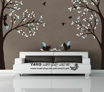 Corner Squirrel Tree Wall Stickers Nursery Decal Baby Kids Art Decor Removable