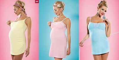 Pregnancy Nursing Cami Jersey Dress With Lace Elegant Nighty Breastfeeding