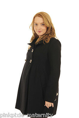 Maternity Black Military Pregnancy Warm Coat Jacket Wool Size 10 12 14 16 18 20