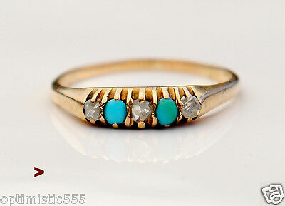 Antique European Ring solid 14K Gold Turquoise Diamonds US 7.75 / 1.8gr