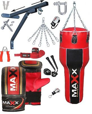NEW Boxing 15pcs Heavy Filled Punch Bag Angle Body Upper Cut MMA  Gloves B/R
