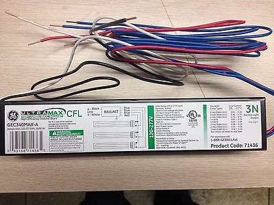 10 Ge 71436 Gec340Max-A Cfl 120-277V  2 Or 3 Lamp Pl-L 40  Electronic Ballast