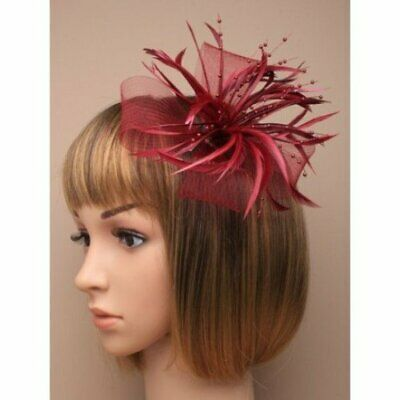 Burgundy fascinator with sinamay net loops and feather tendrils (beak clip an...