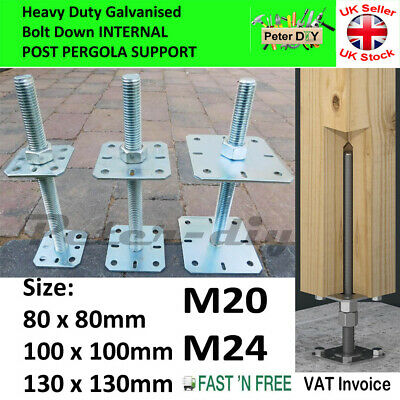 Heavy Duty Galvanised Bolt Down INNER POST SUPPORT Adjustable Height: 250mm-10""