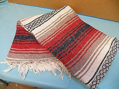 "New Rustic RED & GREY Mexican Falsa Blanket Southwestern Indian 52"" X 72"""