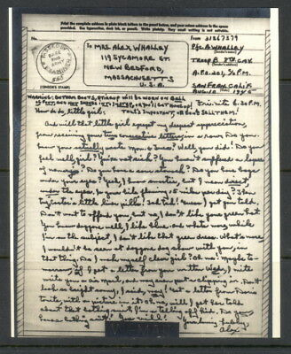 US 1945 V-Mail, Troop B, 8th Cavalry (Okinawa) APO 201, SF, day after Nagasaki