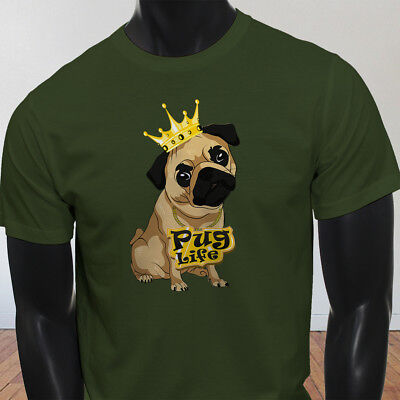 Funny Crown Dog Lovers Animal Cute Pug Life Cartoon Mens Military Green T-Shirt