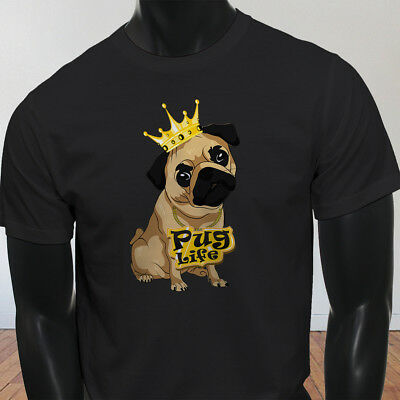 Funny Crown Dog Lovers Animal Cute Pug Life Cartoon Mens Black T-Shirt