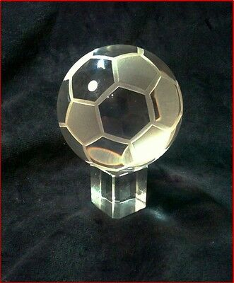 Beautiful Glass  Soccer Ball on  Crystal Glass Cube