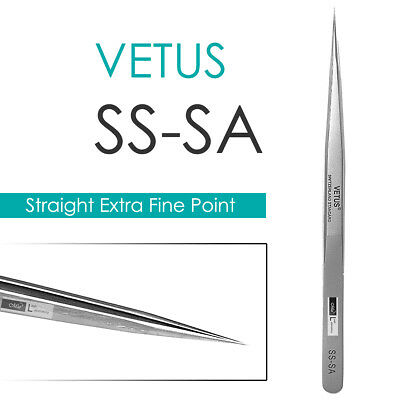 VETUS SS-SA Straight Ultra Precise Extra Fine Point Tweezers Eyelash Extension