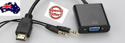 New HDMI Male to VGA Female Video Cable Converter Adapter 1080P With 3.5mm Audio