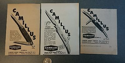 Vintage Camillus Knife Advertisements - Lot of 3