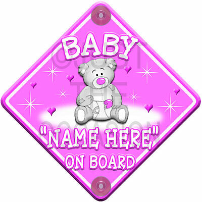 NEW* BABY GIRL * PINK TEDDY STARS & HEARTS * Personalised Baby on Board Car Sign