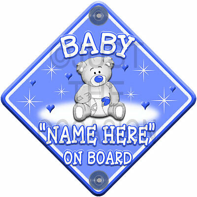 NEW Baby Boy   BLUE TEDDY STARS & HEARTS   Personalised Baby on Board Car Sign